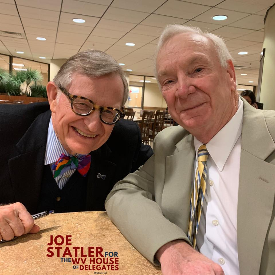 WVU President E. Gordon Gee and Joe Statler share a bite to eat and conversation in the WV Capitol Cafeteria.